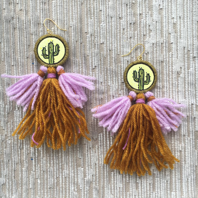 Blacklight Cactus Tassel Earrings