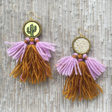 Load image into Gallery viewer, Blacklight Cactus Tassel Earrings