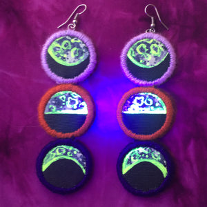 Moon Phase Earrings- BLACKLIGHT