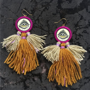 Blacklight Eye Tassel Earrings