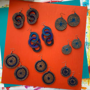 Blue Woven Grass DOUBLE HOOP earrings