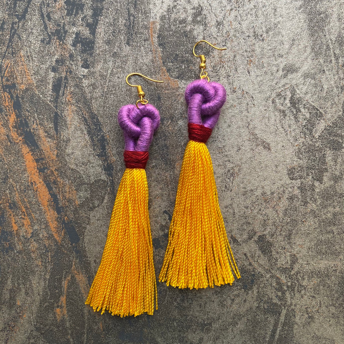 Purple KNOT Yellow TASSEL Earring