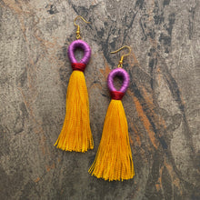 Load image into Gallery viewer, Purple LOOP Yellow TASSEL Earring