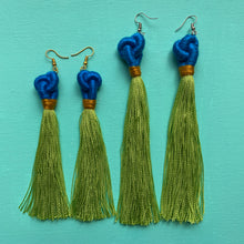 Load image into Gallery viewer, blue KNOT bright green tassel Earring