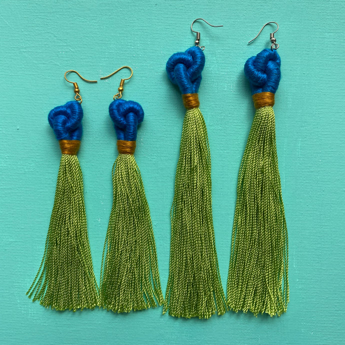 blue KNOT bright green TASSEL Earring