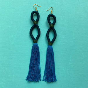 dark teal INFINITY blue tassel Earring