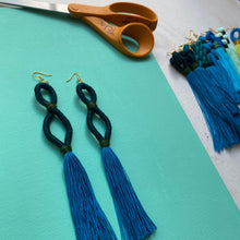 Load image into Gallery viewer, dark teal INFINITY blue tassel Earring
