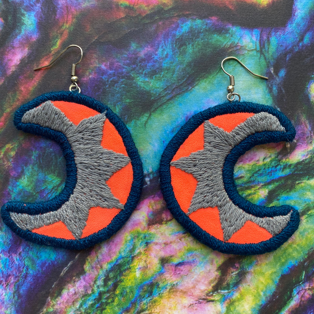 Embroidered Moon earrings