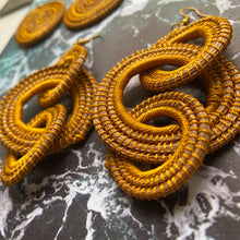 Load image into Gallery viewer, Mustard Yellow TRIPLE HOOP Woven Grass earrings
