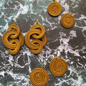 Mustard Yellow TRIPLE HOOP Woven Grass earrings