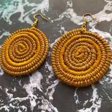 Load image into Gallery viewer, Yellow Woven Grass CIRCLE earrings