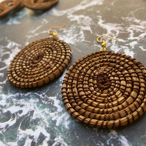 Brown Woven Grass CIRCLE earrings