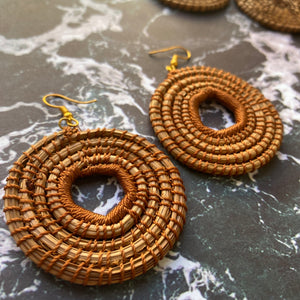Brown Woven Grass HOOP earrings