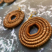 Load image into Gallery viewer, Brown Woven Grass HOOP earrings