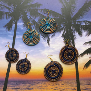 Blue Circle Woven Grass earrings