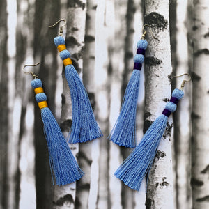 Bright Yellow + Blue TASSEL Earrings