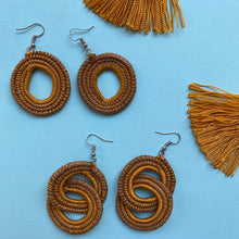 Load image into Gallery viewer, Mustard Yellow Woven Grass DOUBLE HOOP earrings