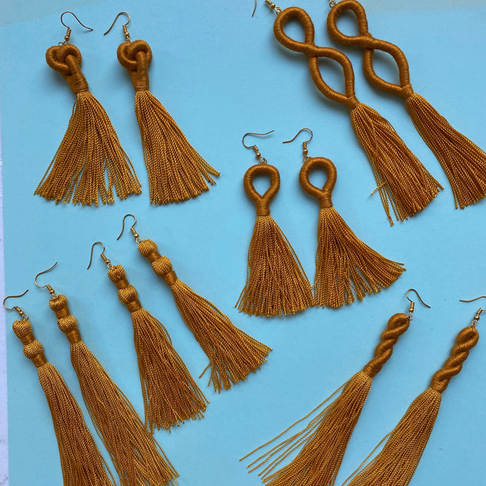Mustard Yellow TASSEL Earrings