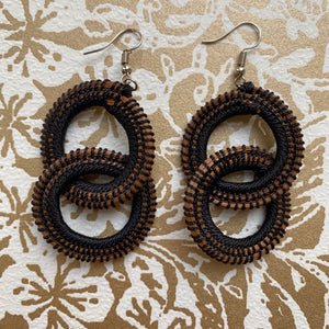 Black Woven Grass DOUBLE HOOP earrings