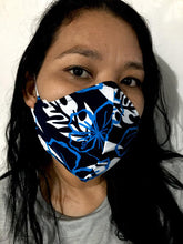 Load image into Gallery viewer, Hecho en la Lucha face mask- Black and Blue Floral