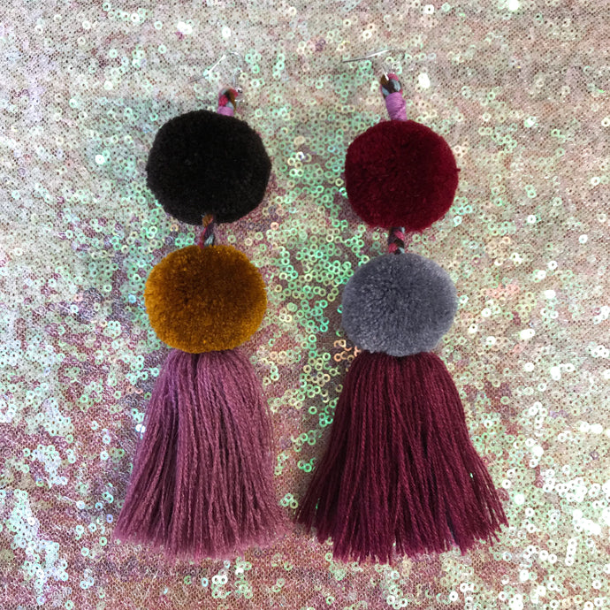 Double pompom tassel earrings