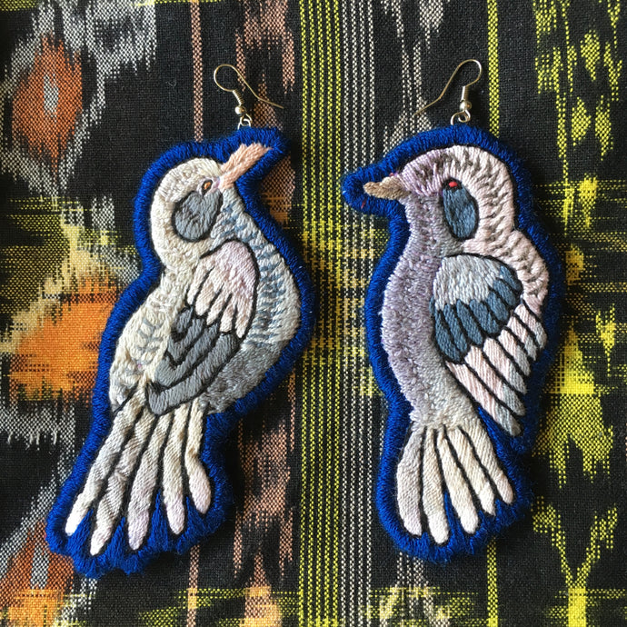 Grey and Blue Bird Earrings