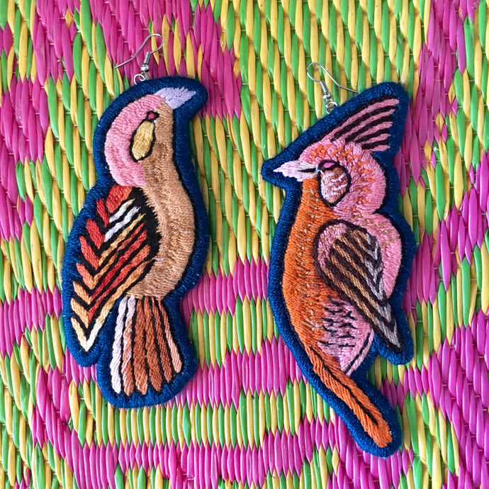 Orange and Blue Bird Earrings