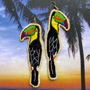 Toucan Embroidered bird Earrings