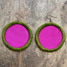 Load image into Gallery viewer, LARGE Fabric Circle Earring