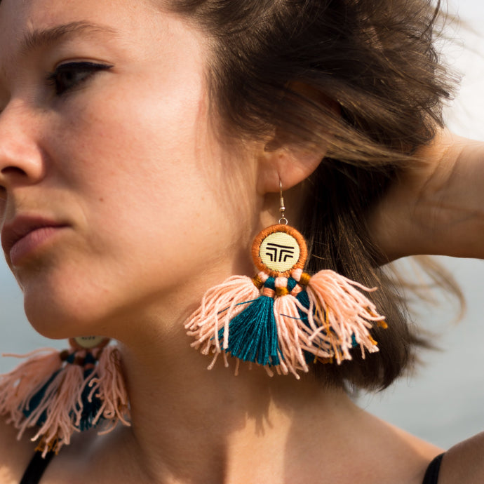 Teal and Peach Tassel Earrings