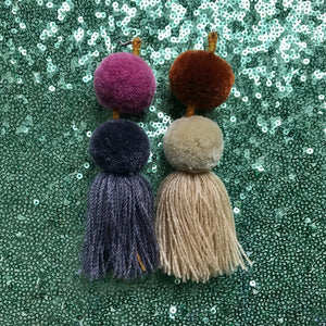 Pompom tassel earrings