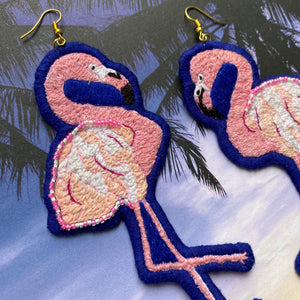 Flamingo Embroidered bird Earrings