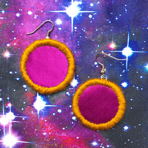 SMALL Fabric Circle Earrings