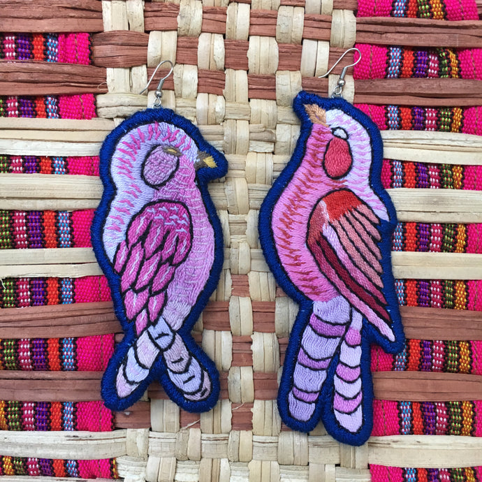 Pink and Blue Bird Earrings