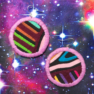 MEDIUM Fabric Circle Earrings