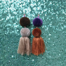 Load image into Gallery viewer, Pompom tassel earrings
