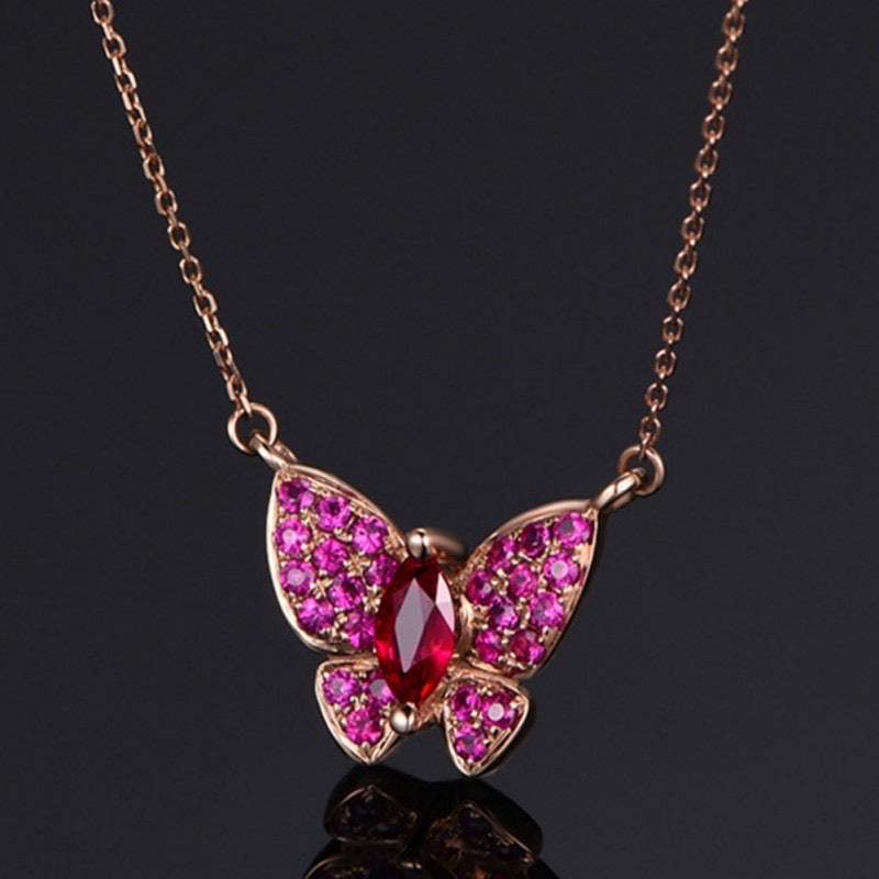 Butterfly Red Ruby Necklace