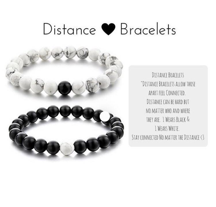 2 Couples Distance Bracelet Natural Stone