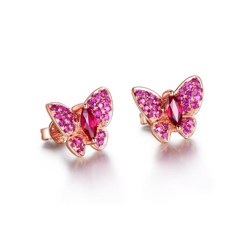 Butterfly Red Ruby Earrings