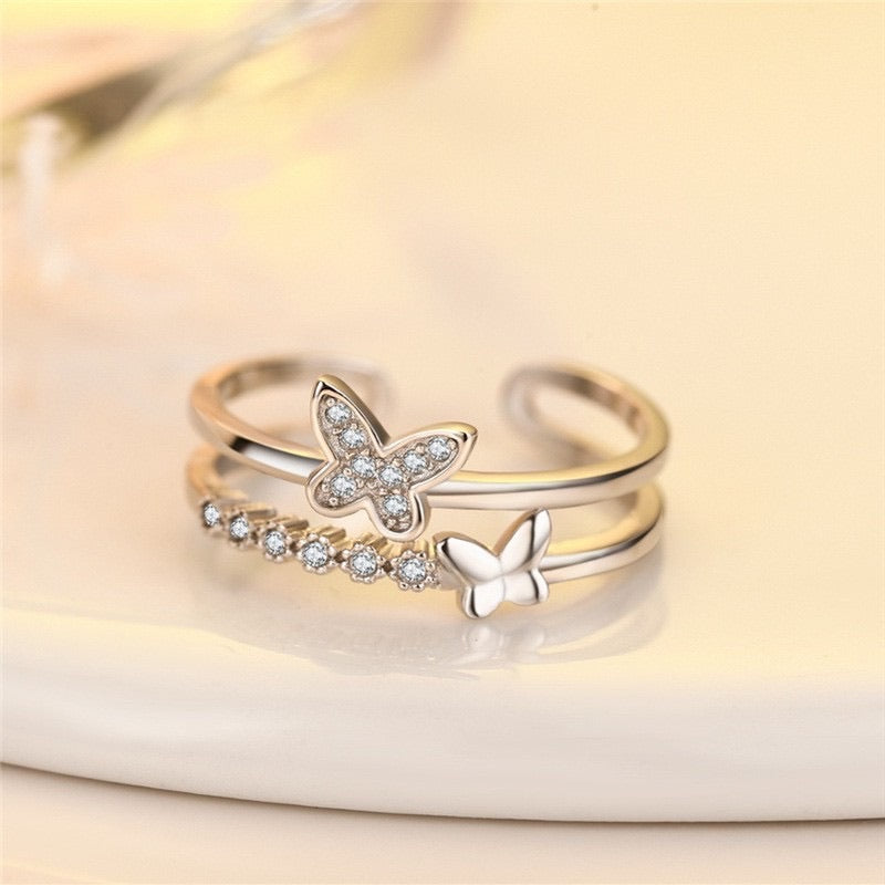 Butterfly Crystal Rings