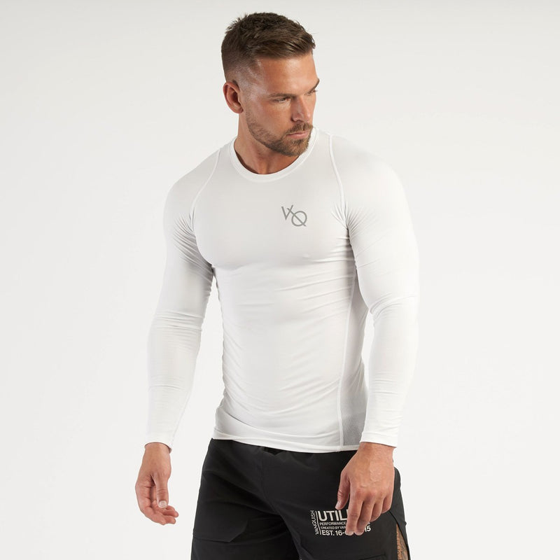 Vanquish Utility Men's White Long Sleeved Compression T Shirt 1枚目の画像