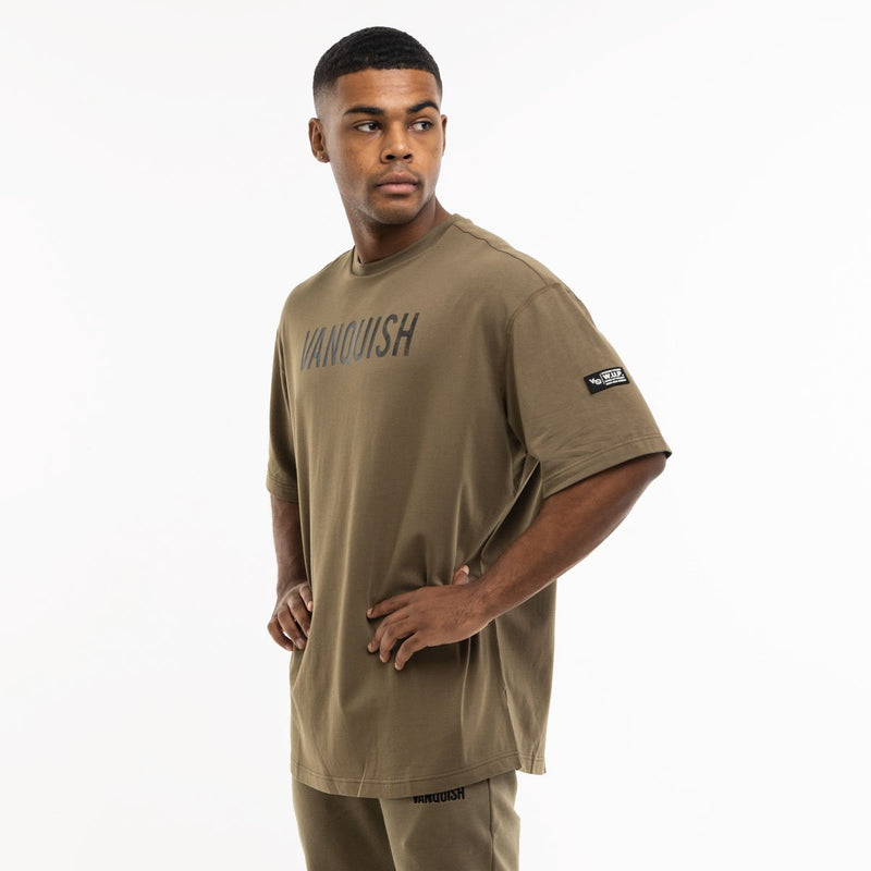 Vanquish Warm Up Project Olive Oversized Short Sleeve T Shirt 1枚目の画像