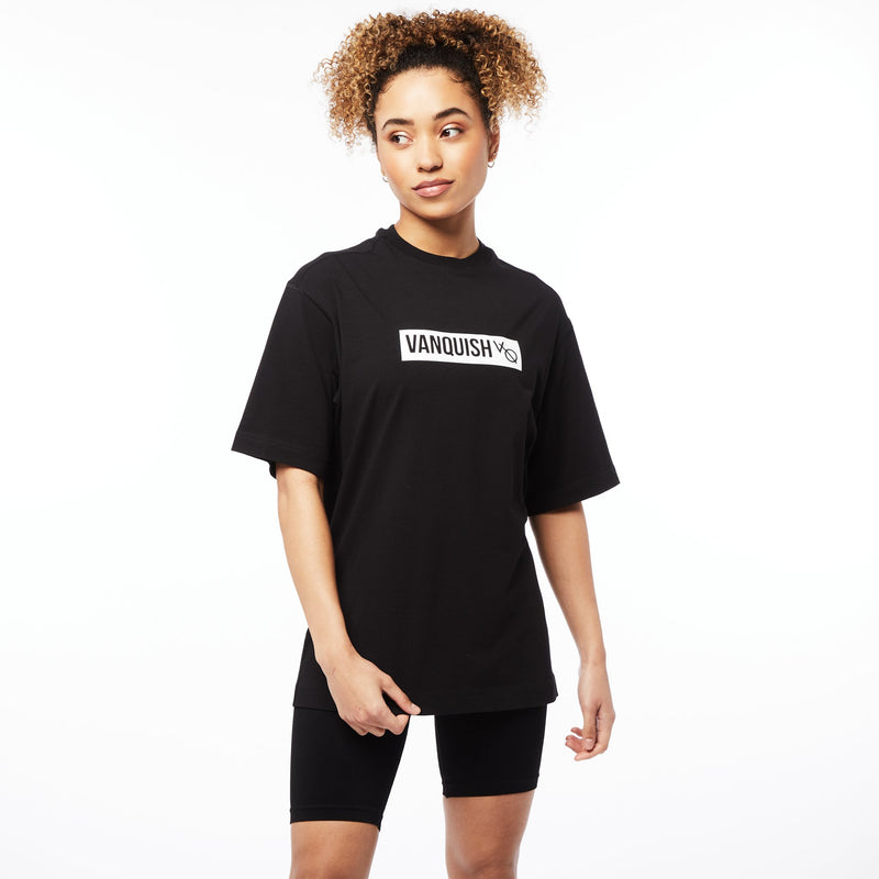 Vanquish Unisex  Box Logo Black Oversized T Shirt 4枚目の画像
