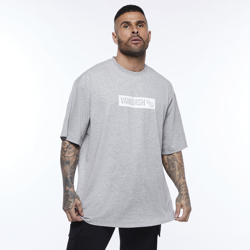 Vanquish Box Logo Ash Grey Oversized T Shirt 1枚目の画像