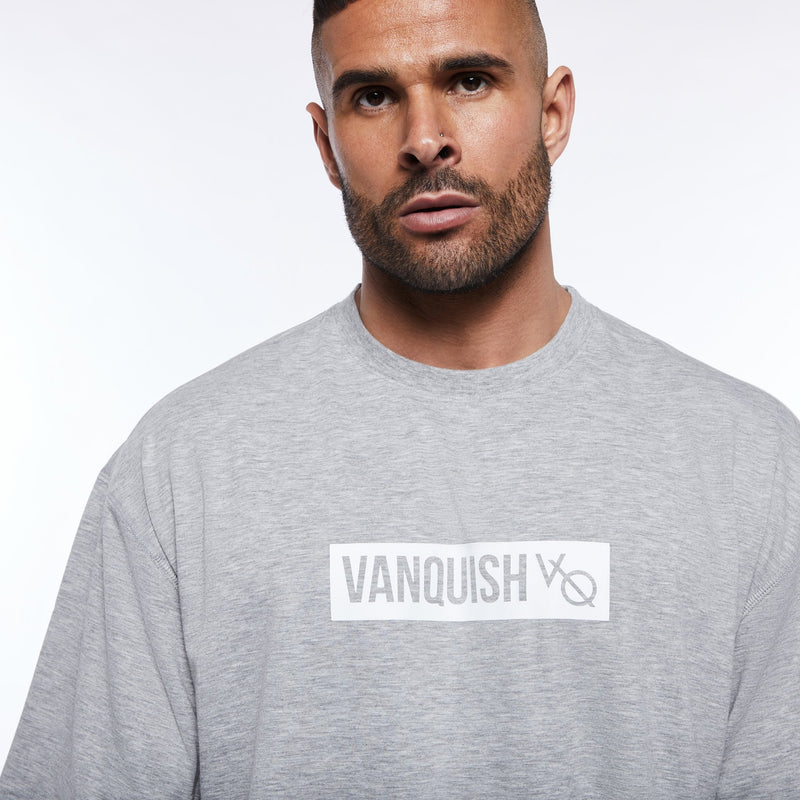 Vanquish Box Logo Ash Grey Oversized T Shirt 2枚目の画像