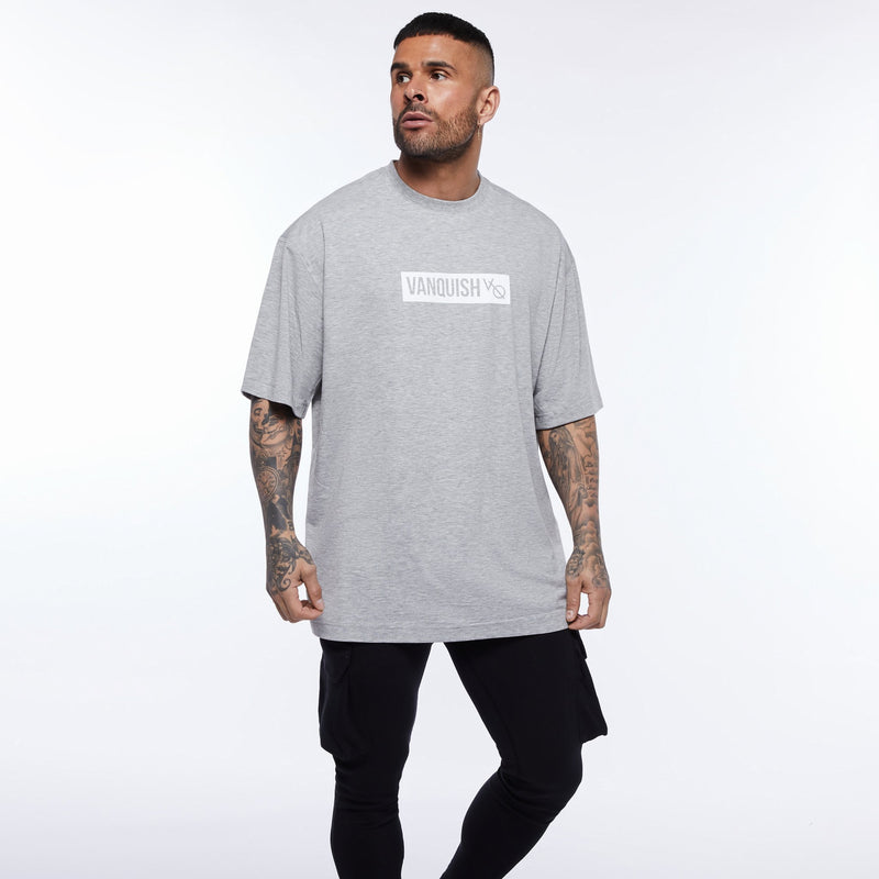 Vanquish Box Logo Ash Grey Oversized T Shirt 5枚目の画像