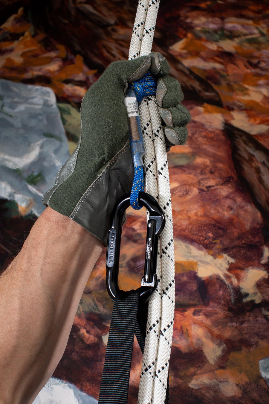 RopeSafe rope edge protection custom bound prusik cord for use with other rope safety equipment.