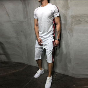 Men's Striped Stitched Hip Hop   Sports Brothers Set