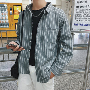 Male Striped Long Sleeve Shirt