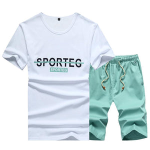 Short-Sleeved T-Shirt Five-Pants Men's Casual Summer Cotton Two-Piece